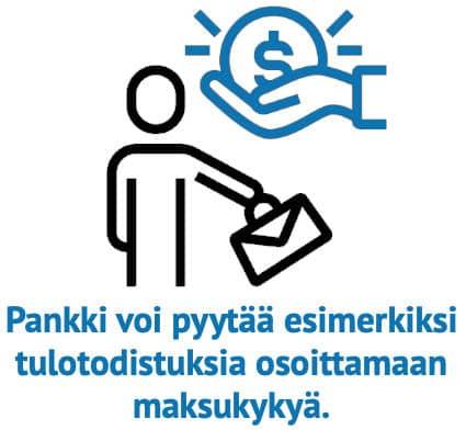 Pankki voi pyytää esimerkiksi tulotodistuksia osoittamaan maksukykyä