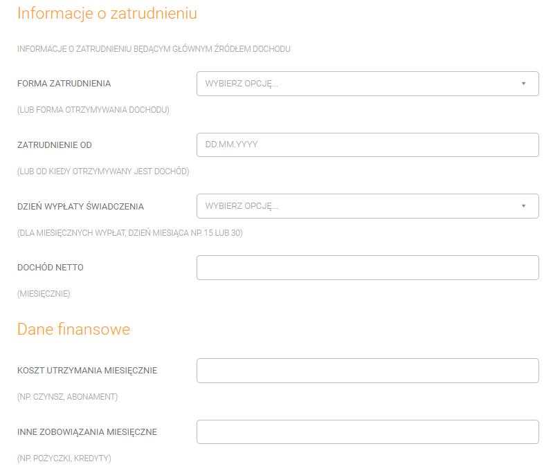 Automat Kredytowy - dane we wniosku