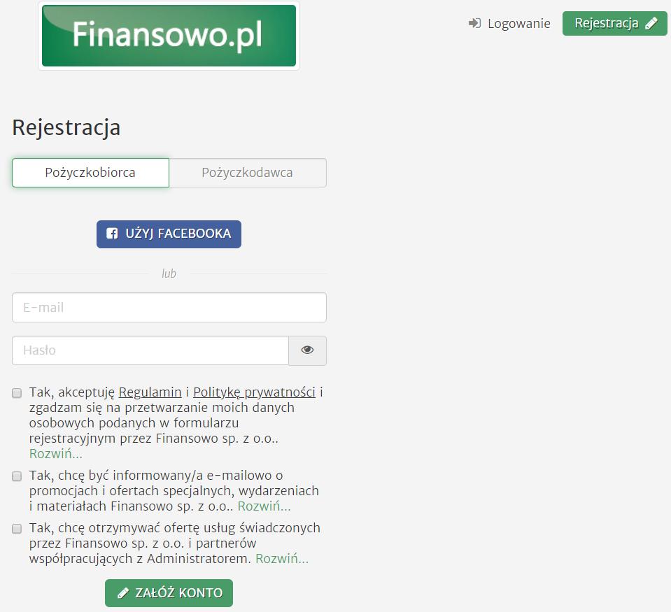 Finansowo.pl - rejestracja