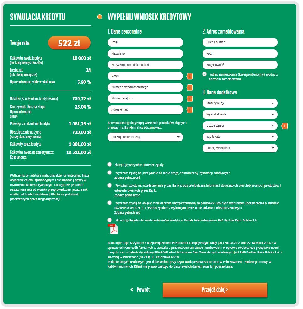 BNP Paribas - aplikacja internetowe