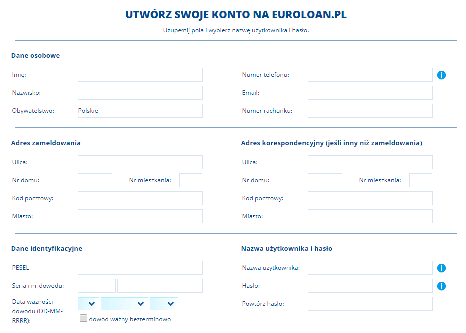 Wniosek o pożyczkę Euroloan - krok drugi