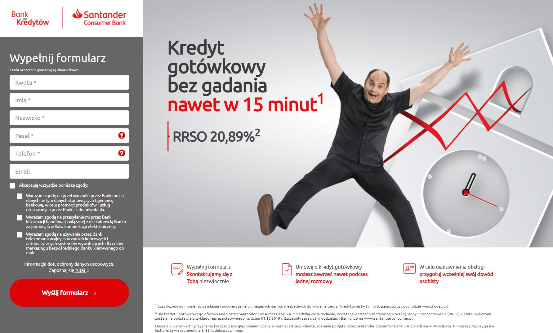 Santander wniosek kredytowy