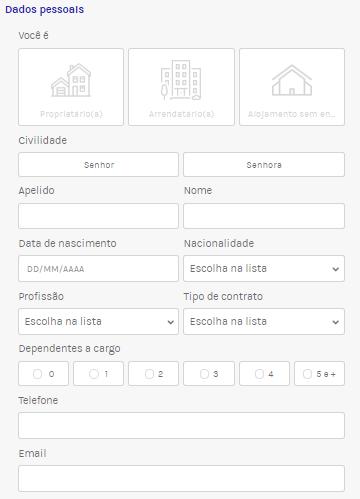 Simulação on line Partners Finances Dados pessoais